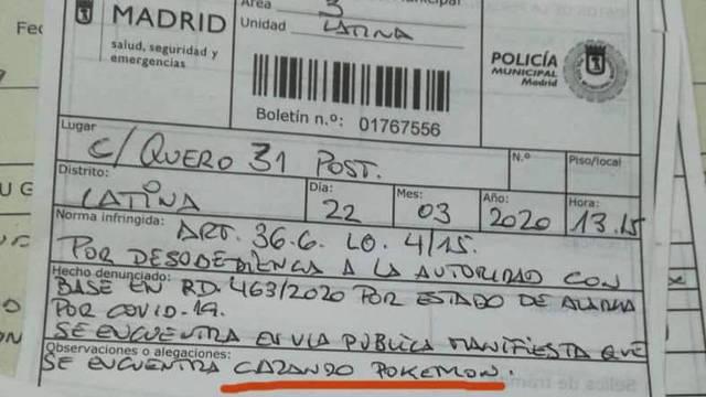 Multa a un hombre de 77 años en Madrid por cazar pokemon